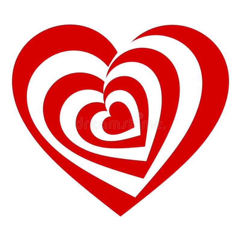 Psykedelisk hjärtasymbol, enkel stil vektor illustrationer