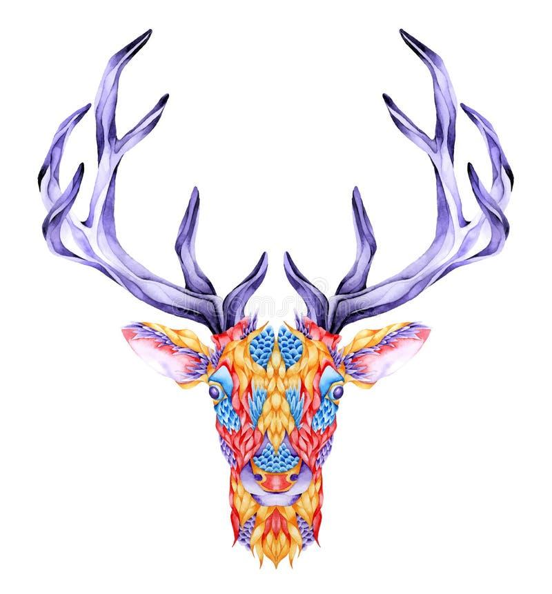 Psykedelisk hjorthuvudtatuering vektor illustrationer