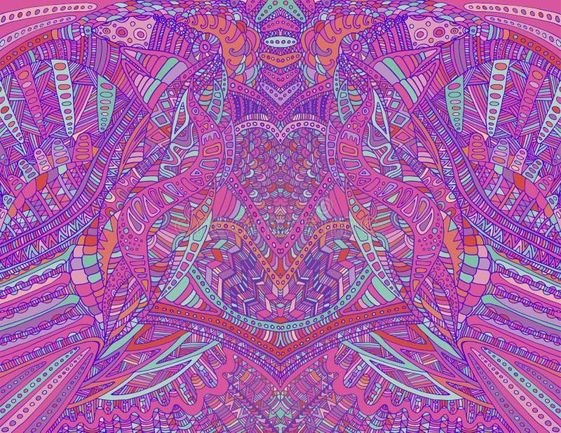 Psykedelisk idérik färgrik symmetrisk modelldesignkonst Overklig abstrakt dekorativ modell med klotterlabyrint av royaltyfri illustrationer