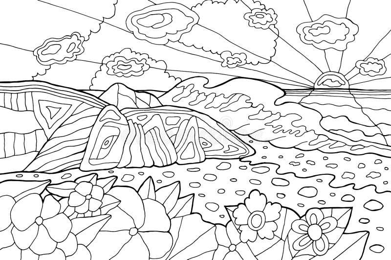 Psykedelisk illustration med sjösidalandskap hav 3d framf?r solnedg?ng Linje konstfärgläggningsida för vuxna människor Hippie60-t vektor illustrationer
