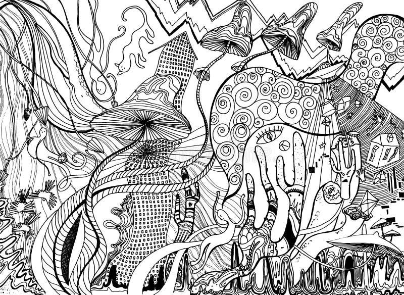 Psykedelisk konst med champinjoner, ufo, kakturs, hus, djur och virvlar abstrakt designaffisch Overklig grafisk abstraktion royaltyfri illustrationer