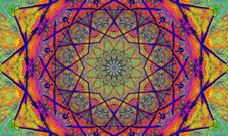 Psykedelisk konst: Mycket färgrik mandala stock illustrationer