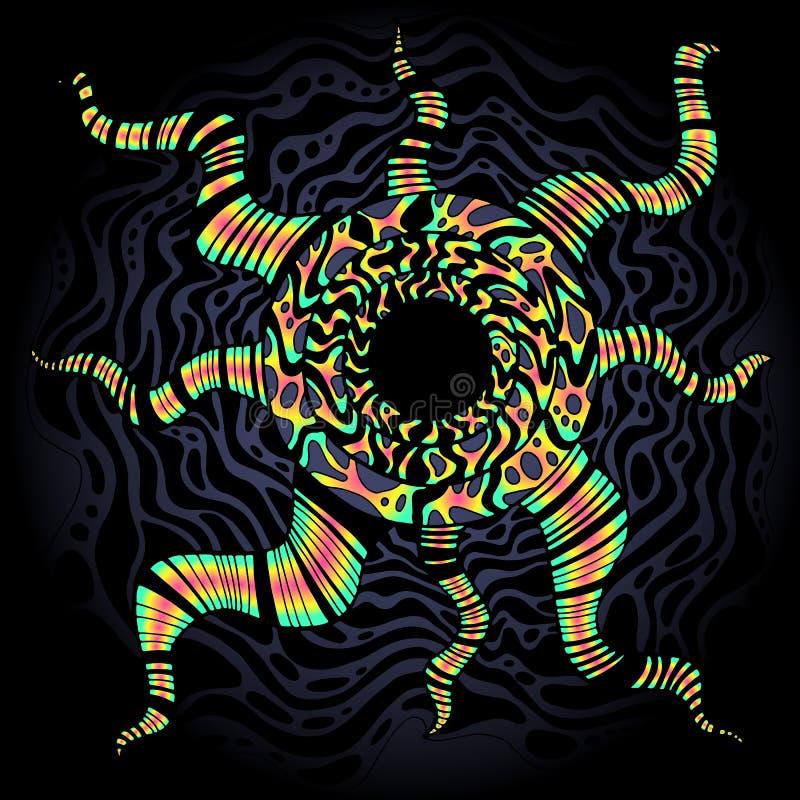 Psykedelisk ljus overklig klotterbakgrund Färgrik abstrakt dekorativ ram Tecknad textur för vektor hand royaltyfri illustrationer