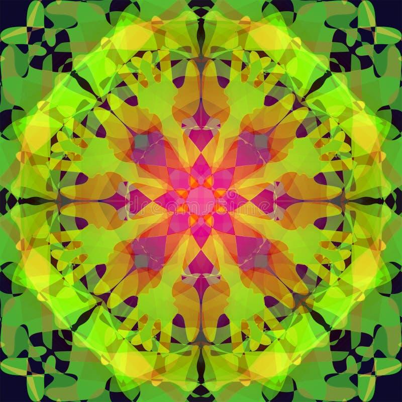 Psykedelisk mandala, f?rgrik bild i gr?splaner, guling, apelsin, fuchsia, abstrakt bakgrund royaltyfri illustrationer