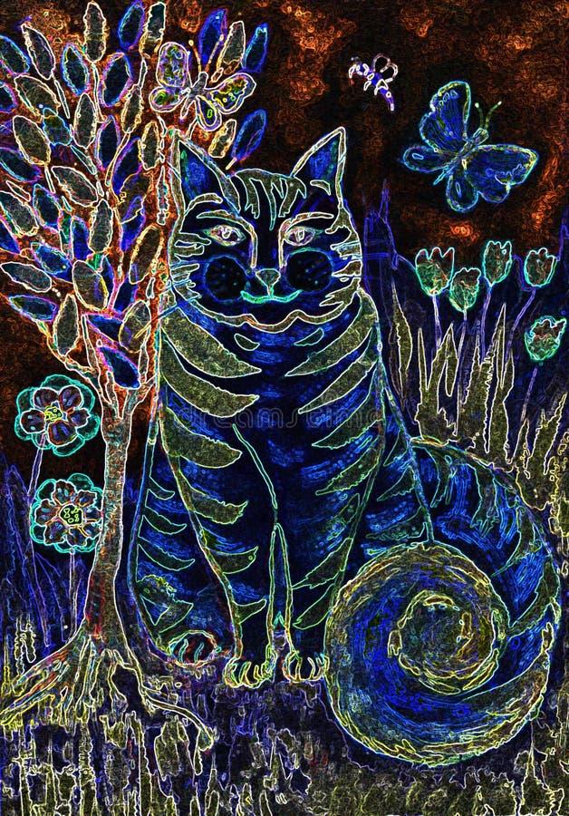 Psykedelisk randig blå katt med trädet av liv vektor illustrationer