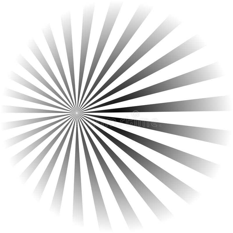 Psykedelisk spiral med radiella strålar, piruett, vriden komisk effekt, virvelbakgrunder arkivbilder