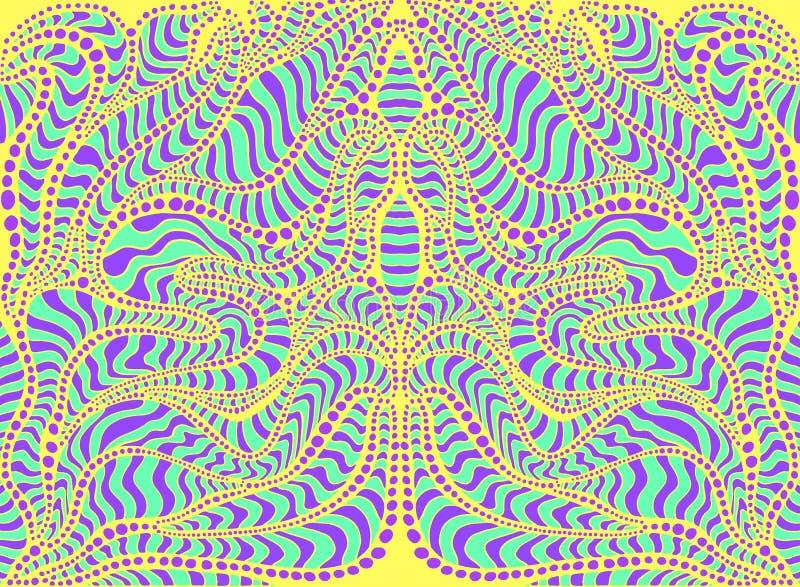 Psykedelisk stam- f?rgrik overklig klottermodell Abstrakt trippy modell f?r hippie, labyrint av prydnader vektor illustrationer
