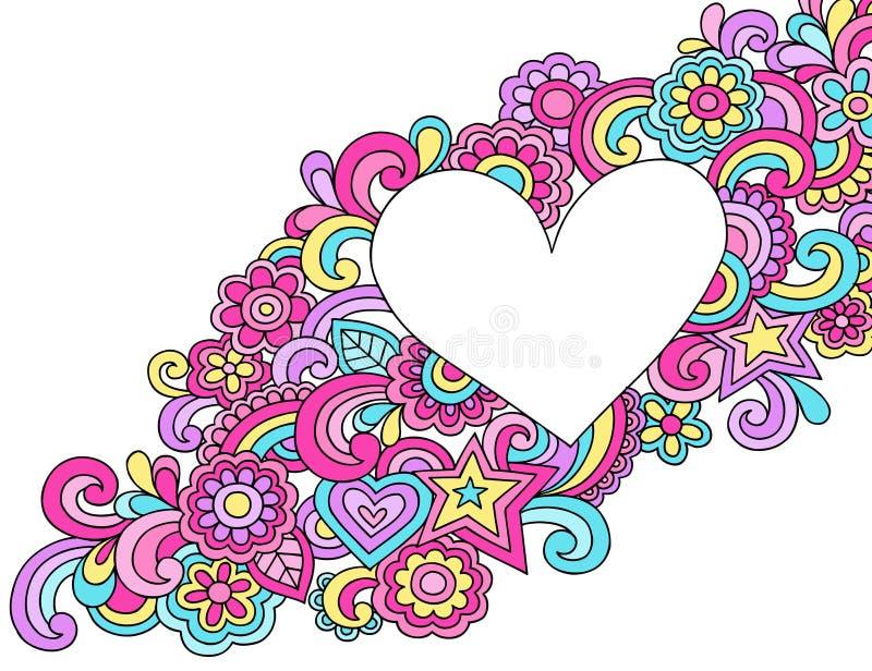 Psykedelisk vektor för hjärtaramklotter stock illustrationer