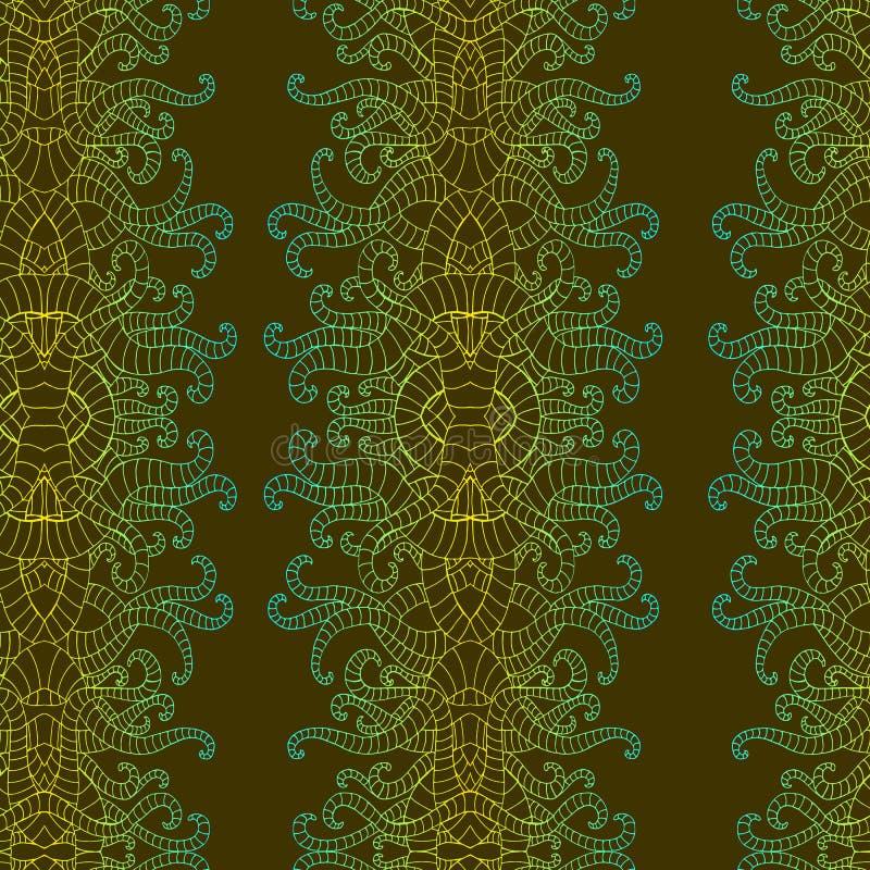 Psykedelisk vertikal färgrik dekorativ pettern sömlös bakgrund Ändlösa vågor för bohemisk fantasi Vektorn räcker utdraget stock illustrationer
