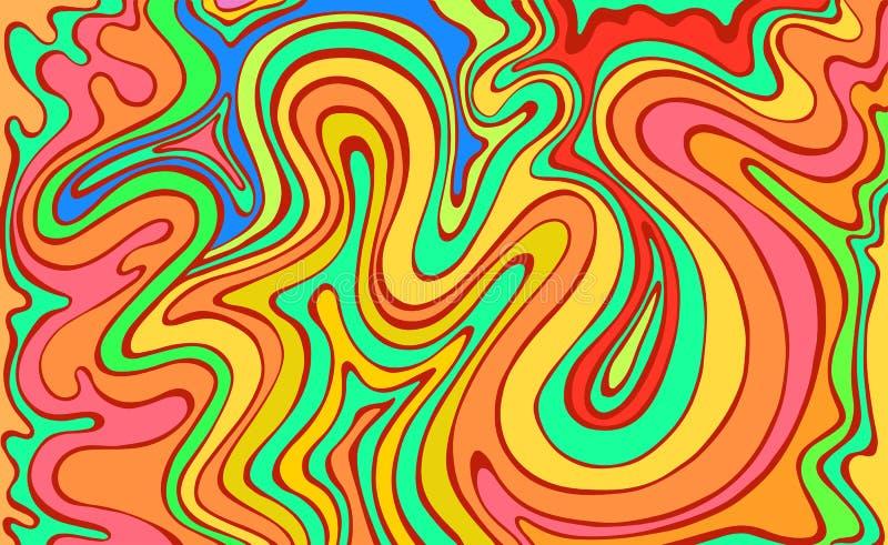 Psykedeliska f?rgrika v?gor Fantastisk konst med dekorativ textur Overklig klottermodell Regnb?gef?rgabstrakt begrepp stock illustrationer