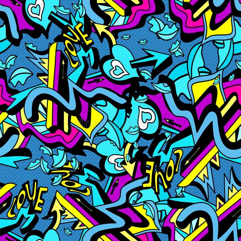 Psykedeliska grafittilinjer och hjärta på för modellvektor för vit bakgrund en sömlös illustration vektor illustrationer
