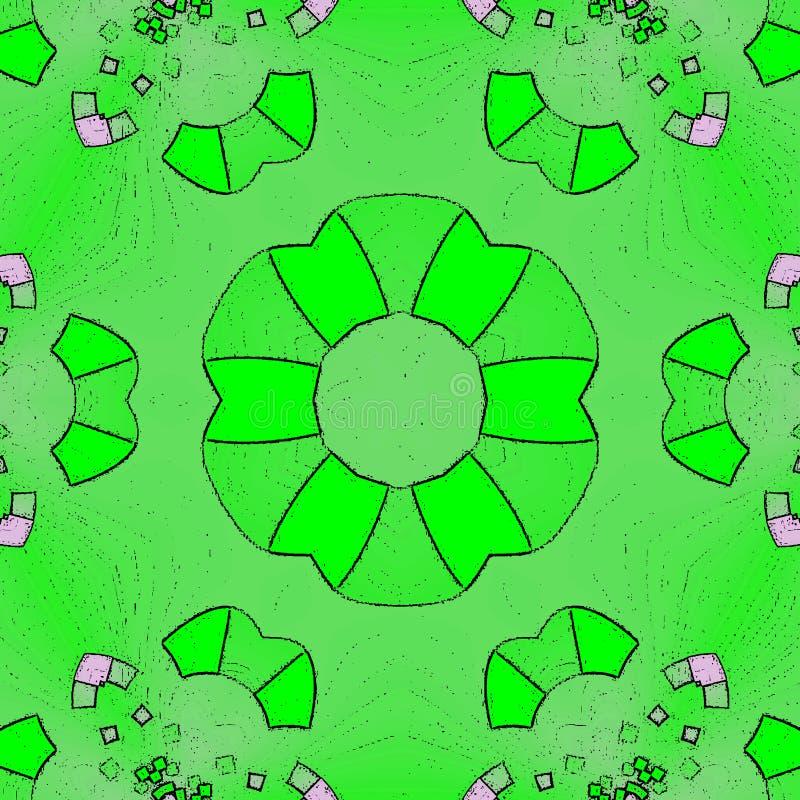 Psykedeliska Henna Mandala Doodle Green Flower royaltyfri illustrationer