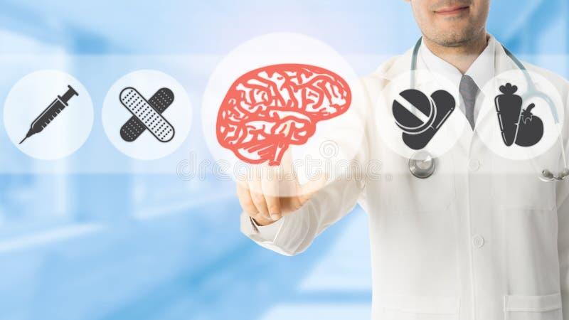 Psykologdoktor Pointing p? Brain Symbol Icon royaltyfri illustrationer