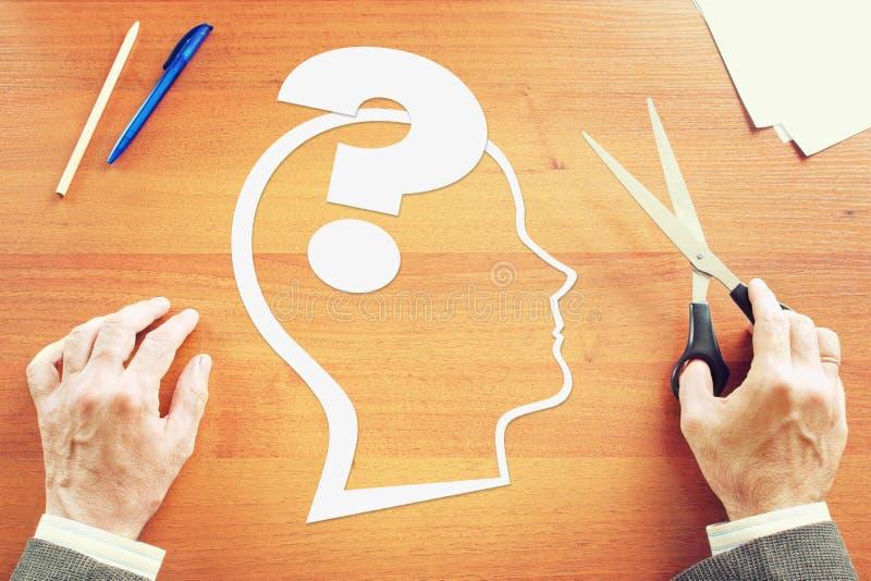 Psykologi av mänsklig tanke arkivfoto