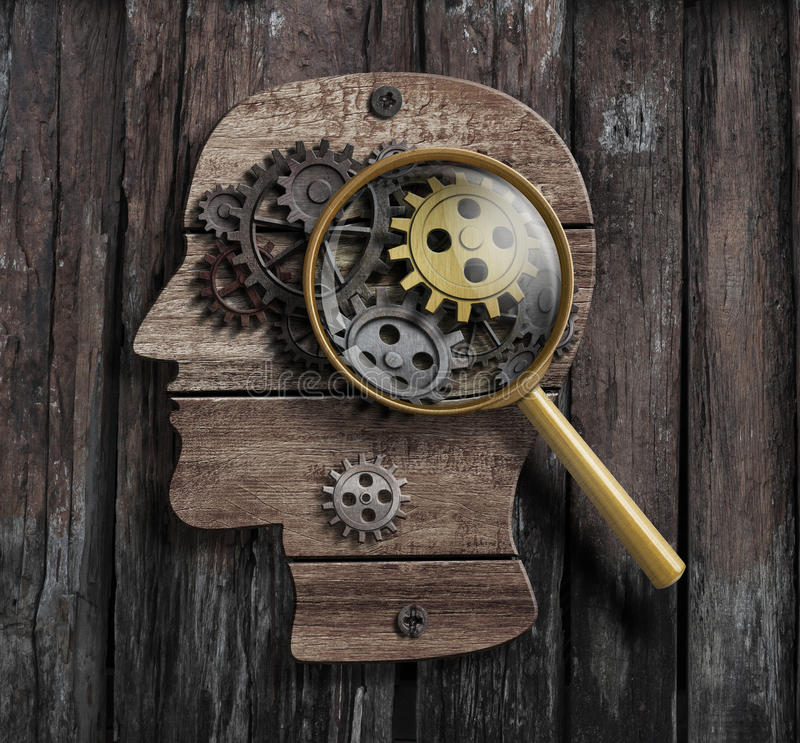 Psykologi eller uppfinner begrepp Hjärnfunktionsmodell arkivfoto