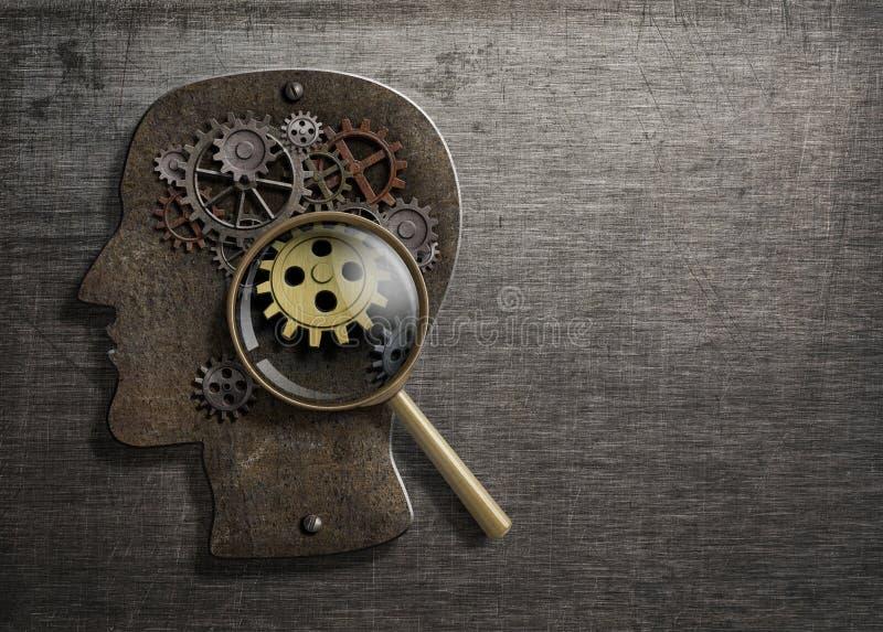 Psykologi eller uppfinner begrepp Hjärnmodell med illustrationen för förstoringsglas 3d vektor illustrationer
