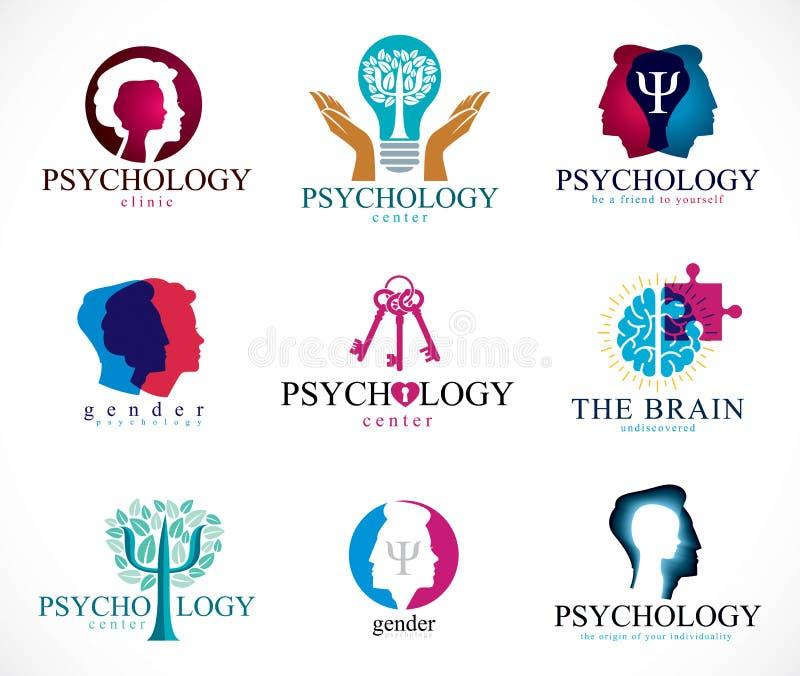 Psykologi, mänsklig hjärna, psykoanalys och psykoterapi, relat royaltyfri illustrationer