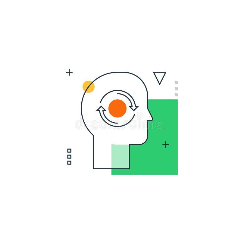 Psykologi- och filosofibegrepp Drag av inåtvändhet av mänsklig personlighet stock illustrationer