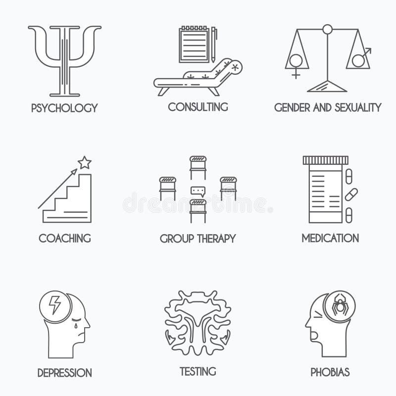 Psykologi- och psykoterapisymboler arkivbild