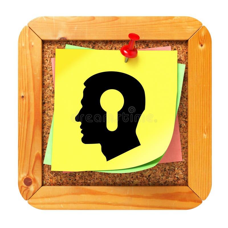Psykologiskt begrepp - klistermärke på anslagstavlan. arkivfoton