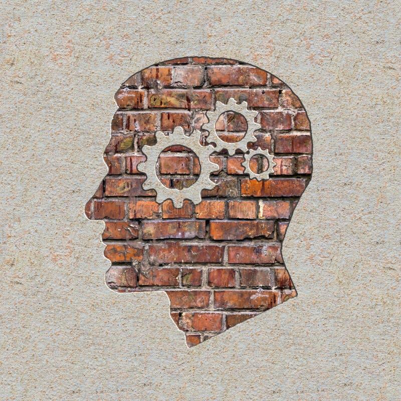 Psykologiskt begrepp på tegelstenväggen. fotografering för bildbyråer