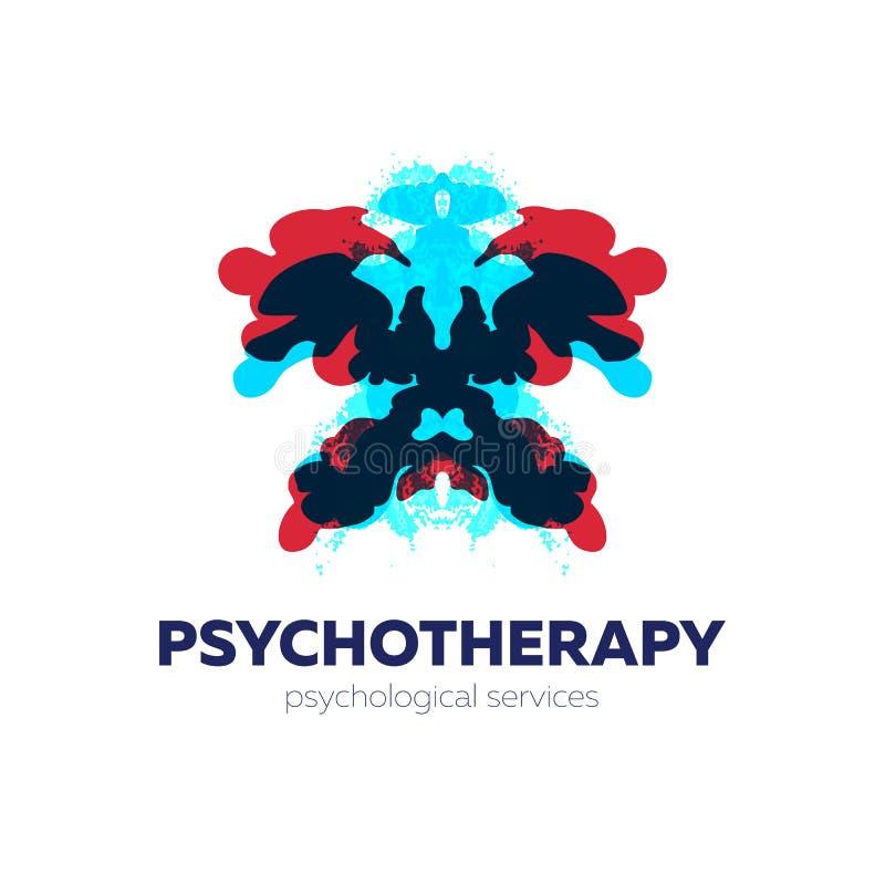 Psykoterapi och psykologisk servicelogo Vektorillustration med rorschachprovinkblots vektor illustrationer