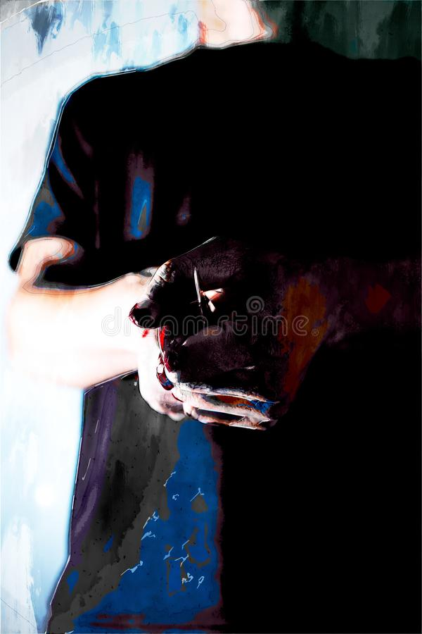 Psykotisk mördare och en kniv i hans blodiga händer vektor illustrationer