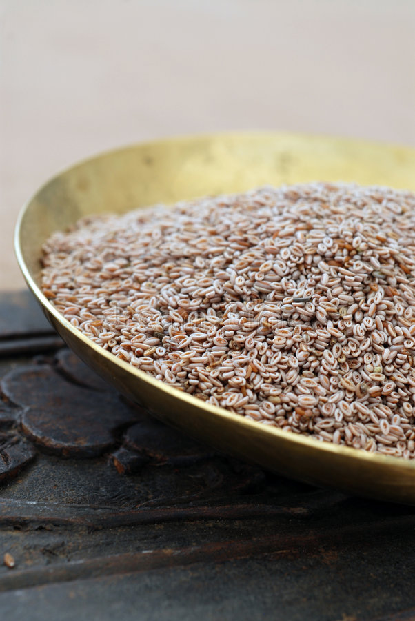Psyllium. Still life photograph of Psyllium seeds. A natural herbal remedy for constipation, weight loss, and inflammation stock photo