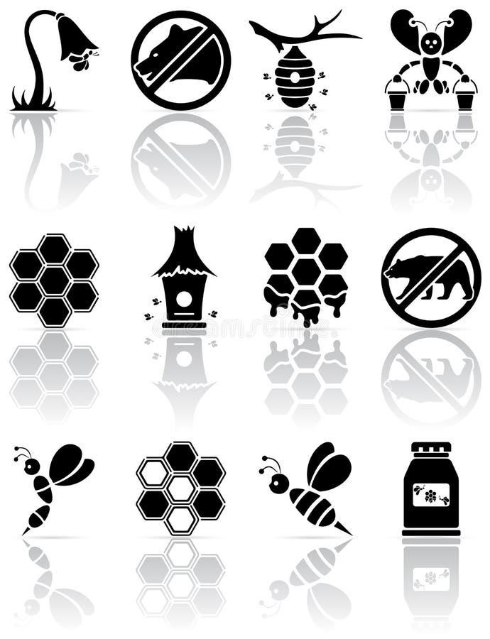 pszczół ikony ilustracja wektor