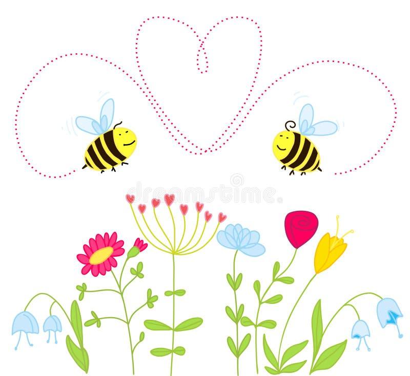 pszczół kwiatów miłość ilustracja wektor