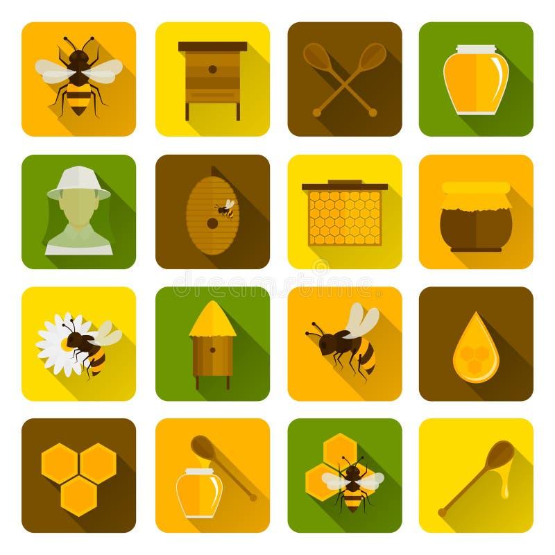 Pszczół Miodowe ikony Płaskie ilustracja wektor