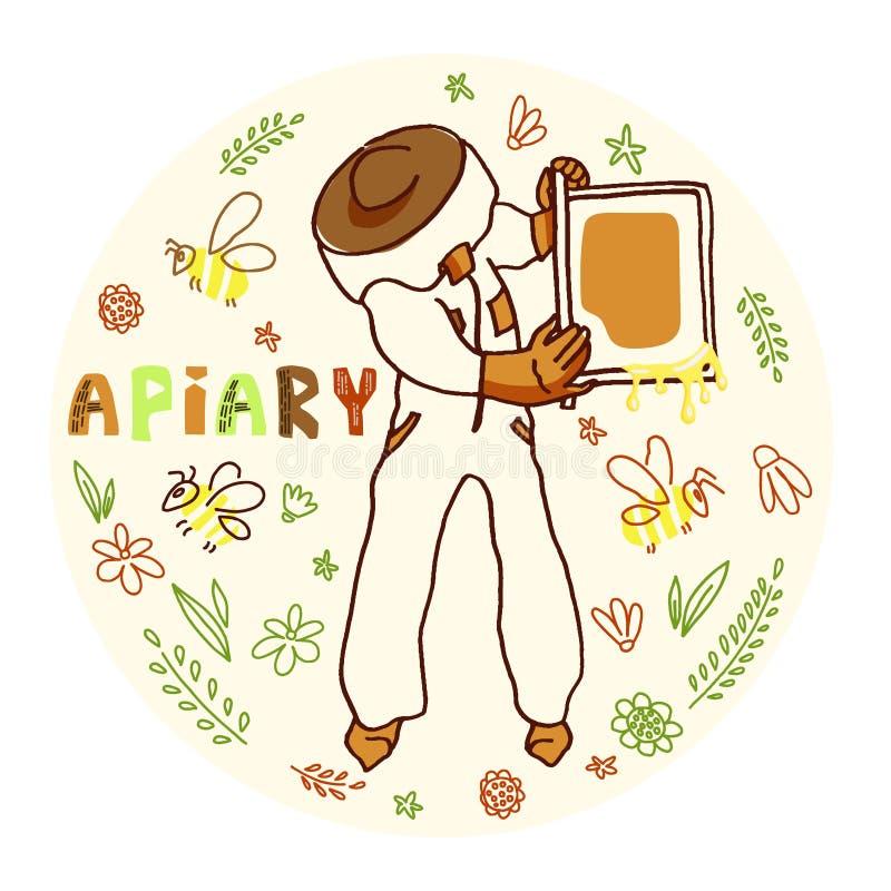 Pszczelarka z miodem royalty ilustracja