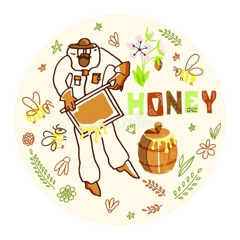 Pszczelarka z miodem ilustracja wektor