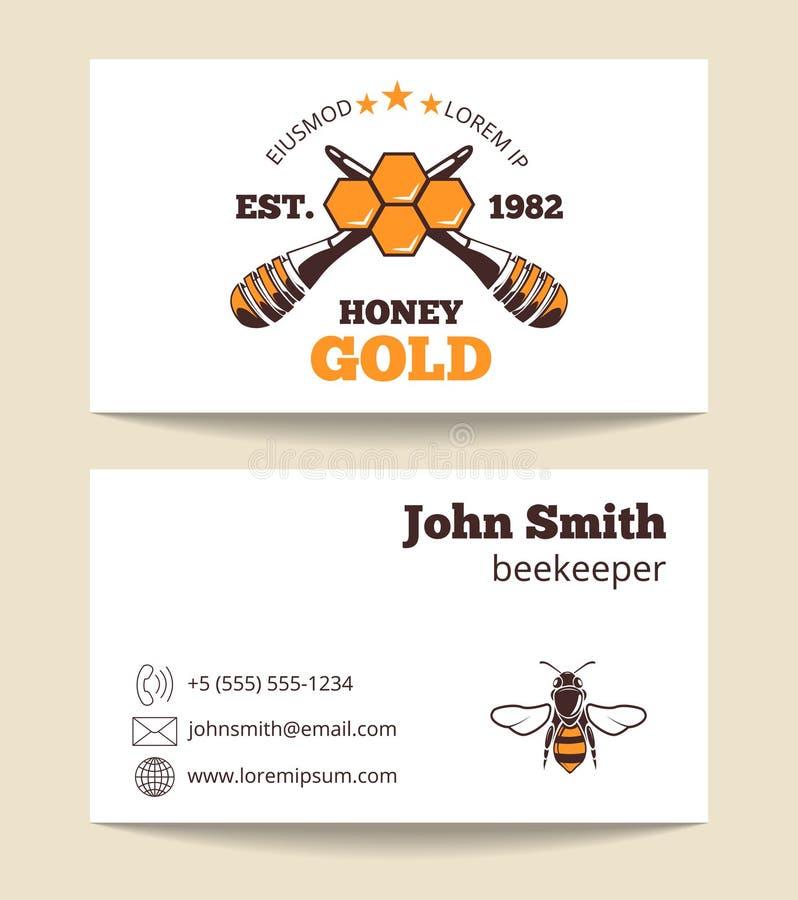 Pszczelarki wizytówki wektorowy szablon ilustracja wektor