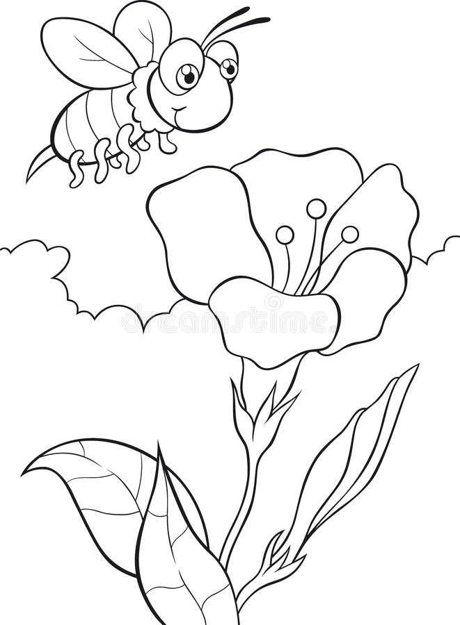 Pszczoła i kwiat ilustracji