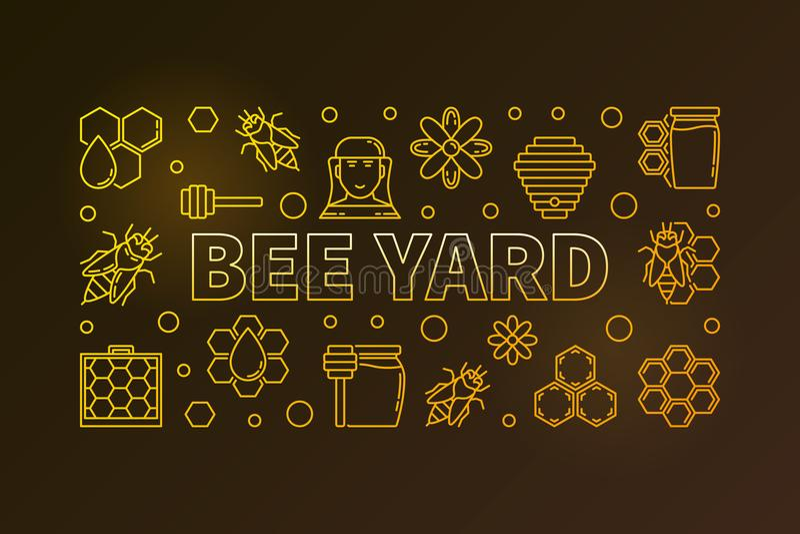 Pszczoła jarda wektor barwił horyzontalnego sztandar lub ilustrację royalty ilustracja