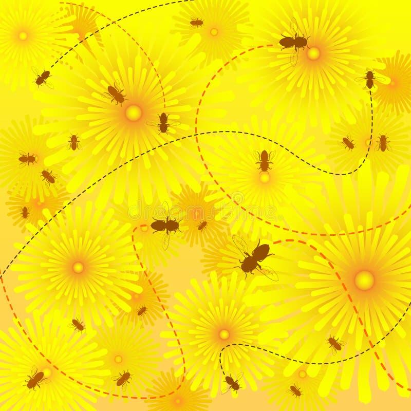 pszczoła kwiaty royalty ilustracja