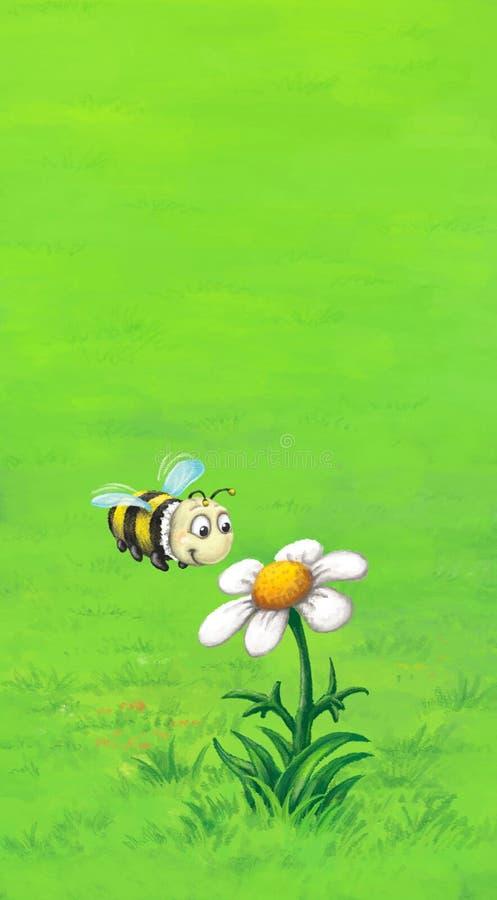Pszczoła lata blisko stokrotki ilustracja wektor