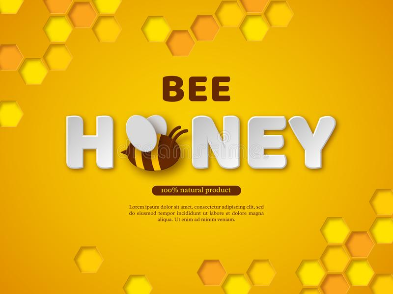 Pszczoła miodowy typograficzny projekt Papieru cięcia stylu listy, grępla i pszczoła, Żółty tło, wektorowa ilustracja royalty ilustracja