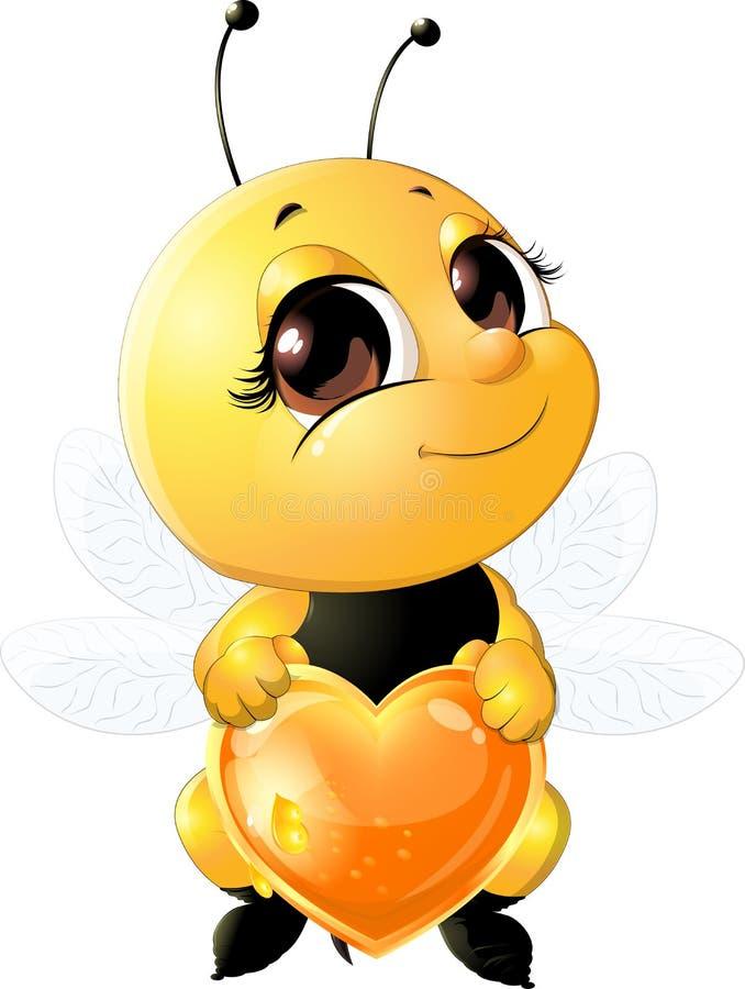 Pszczoła trzyma serce royalty ilustracja