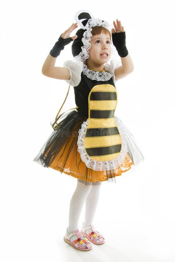 pszczoła ubierająca dziewczyna mała zdjęcia royalty free