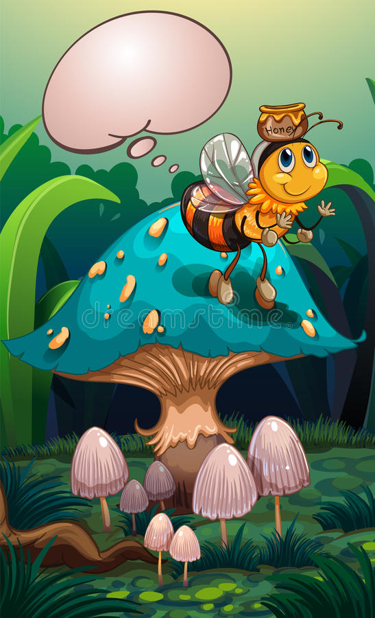 Pszczoła z garnkiem miód nad swój głowa i pusty callout ilustracji