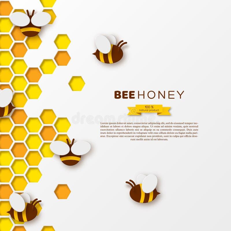 Pszczoła z honeycombs, tapetuje rżniętego ctyle Szablonu projekt dla beekiping i miodowego produktu, biały tło, wektor royalty ilustracja