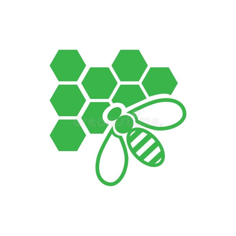Pszczoła z komórki ikoną na białym tle dla grafiki i sieci projekta, Nowożytny prosty wektoru znak kolor tła pojęcia, niebieski i royalty ilustracja
