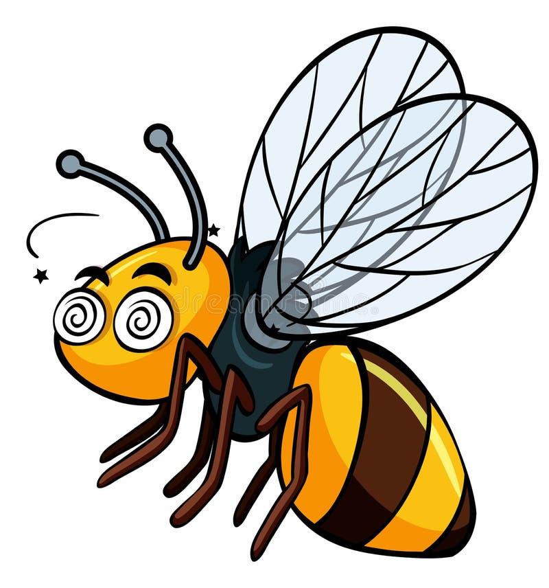 Pszczoła z oszołomioną twarzą royalty ilustracja