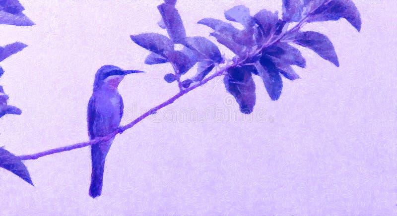Pszczoła zjadacz, pszczoła zjadacz na wczesnym wiosna dniu, wiosna ptak Obrazu olejnego styl, Ptasia ilustracja na kanwie z mench royalty ilustracja