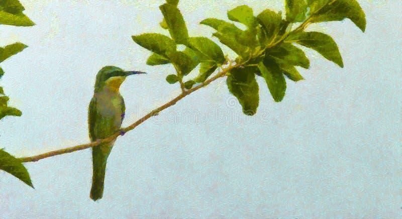 Pszczoła zjadacz, pszczoła zjadacz na wczesnym wiosna dniu, wiosna ptak Obrazu olejnego styl, Ptasia ilustracja na kanwie z zielo ilustracja wektor