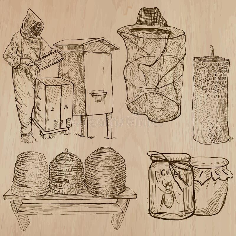 Pszczoły, beekeeping i miód, - wręcza patroszoną wektor paczkę 10 ilustracji
