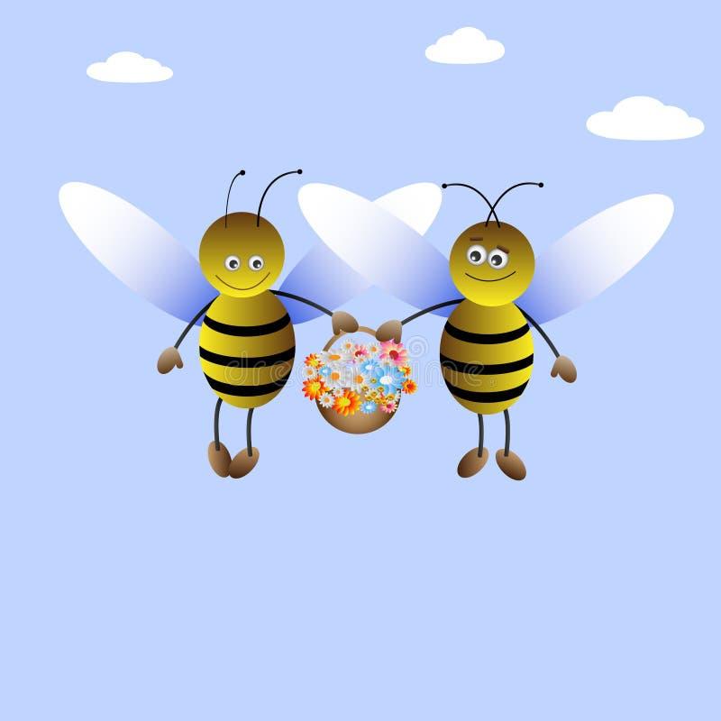 pszczoły chłopiec dziewczyna ilustracja wektor