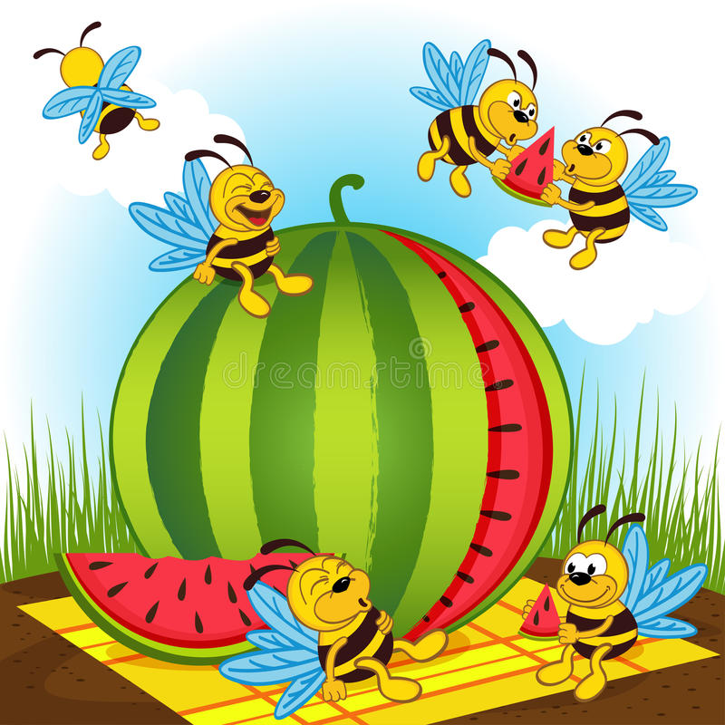 Pszczoły i arbuz ilustracji